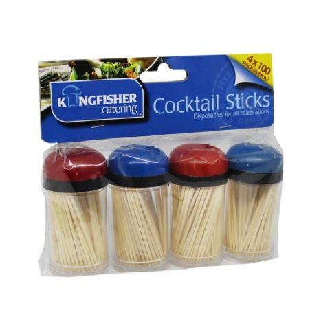 Wooden Cocktail Sticks Kingfisher Catering (4 x 100 Packs)